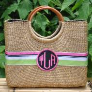 Monogrammed Medium Becky  Florida Basket 10 By 12 By 5 Inches