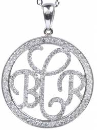 Black Or White Diamond Monogram Necklace In Sterling Silver