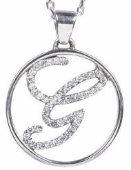 Single Initial Necklace In Sterling Silver With Cz's