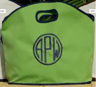 GG Siesta Green Tote Trimmed In Navy. Three Great Sizes.