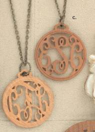 Wooden Filigree Pendant On An 18 Inch Brass Chain  One And A Half Inch Pendant