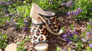 Cow Hide Fur Peep Toes High Heel Clogs  Leopard Pattern And Or  Zebra