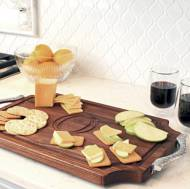 "Personalized 12x18"" Scalloped Walnut Cutting Board With Rope Handles"
