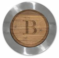 Personalized Round Walnut Cutting Board In Mirrored Charger