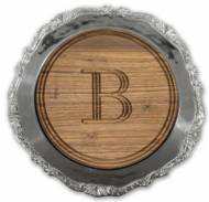 Personalized Round Walnut Cutting Board In Victorian Charger