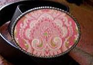 Discontinued - Loopty Loo Pink Damask Belt Buckle
