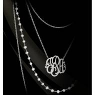 Silver And Pearl Luxe Monogram Multistrand Necklace