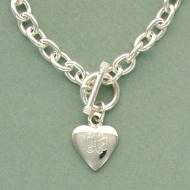 Tiffany Style Sterling Silver Toggle Necklace With Heart Pendant