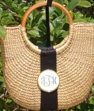 Monogrammed Scrimshaw Basket With Black Ribbon And Medallion