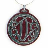 Pewter Filigree Monogram Pendant On Cherry Wood