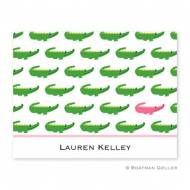 Alligator Repeat Pink Foldover Note Cards