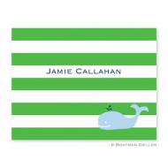Whale Blue Stripe Green Foldover Note