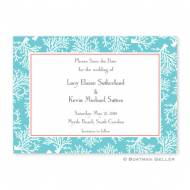Coral Repeat Teal Flat Card Invitation