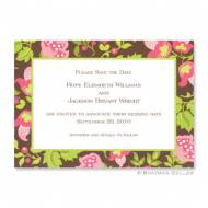 Brown Floral Flat Card Invitation