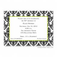 Madison White With Black Damask Flat Card Invitation