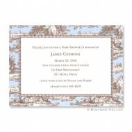 Toile Blue & Brown Flat Card Invitation