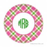 Ashley Plaid Pink Melamine Plate