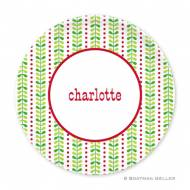 Bright Vine Green & Red Melamine Plate
