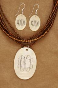 Monogrammed Mother Of Pearl Set Necklace And Earrings