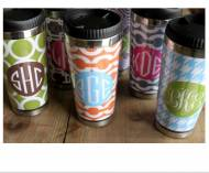 Monogrammed Travel Mugs From Clairebella