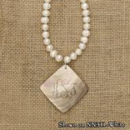 Monogrammed Shell Diamond Shaped Pendant With Fresh Water Pearls