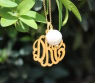 "Monogrammed Three Letter Script  Pendant With Freshwater Pearl On 36"" Chain"