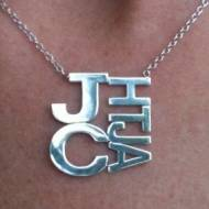 Large Square Family Monogram Necklace