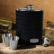 Monogrammed Leather And Stainless Steel Flask Set