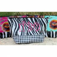 Monogrammed Oilcloth Duo Patterned Cosmetic Bag In Two Sizes