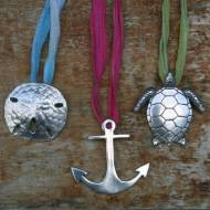 Patty Anderson Pewter Anchor, Sea Turtle And Sand Dollar Sea Pendants