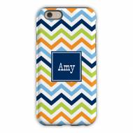 Chevron Blue, Orange & Lime Cell Phone Case