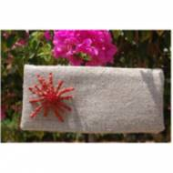 Queen Bean Linen Clutch With Brooch