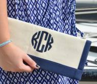 Queen Bea Monogrammed Border Clutch
