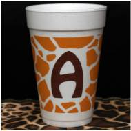 Safari Giraffe Foam Initial Cups-Set Of 30