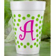 Dots Initial Foam Cups- Set Of 30
