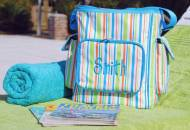 Monogrammed Striped Cooler Bag With Side Pockets