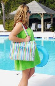 Monogrammed Zip Top Striped Tote