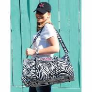 Monogrammed Large Lined Duffle Bag In Zebra