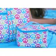 Monogrammed Large Cosmetic Bag With Peace Signs