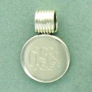 Monogrammed Sterling Silver Round Pendant With Coil Barrel
