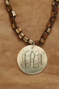 Monogrammed Mother Of Pearl Pendant And Necklace Set