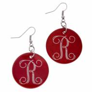Discontinued - Monogrammed Red Shell Disc Earrings