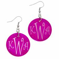 Discontinued - Monogrammed Round Pink Shell Earrings