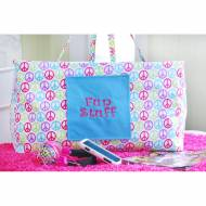 Monogrammed Peace Sign Ultimate Carry All Tote