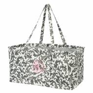 Monogrammed Grey Floral Ultimate Carry All Tote