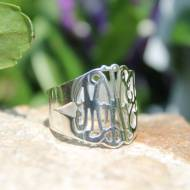 Monogrammed Hand Cut Ring