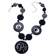 Discontinued - Monogrammed Black Circle Shadow Necklace