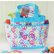 Monogrammed Peace Signs Mini Caddy
