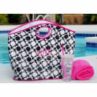 Monogrammed Open Handle Black And White Tote- Sale 14 Dollars With A Monogram