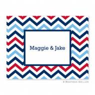 Chevron Blue & Red Foldover Notes